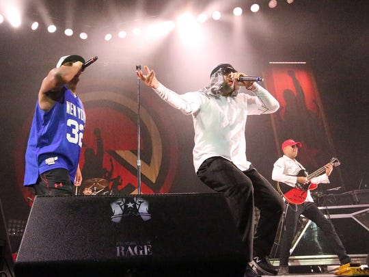 Chuck D. (from left), B-Real and Tom Morello, pictured