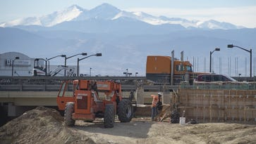 Construction continues on I-25 near Crossroads Boulevard in Loveland on on February 15, 2017.