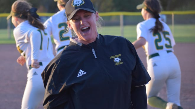 Rock Bridge head softball coach Lisa Alvis reacts after her team defeated Holt 7-4 last season during a Class 4 sectional game in Wentzville. In her first year as head coach, Alvis led the Bruins to the Final Four, where they finished third in the state.
