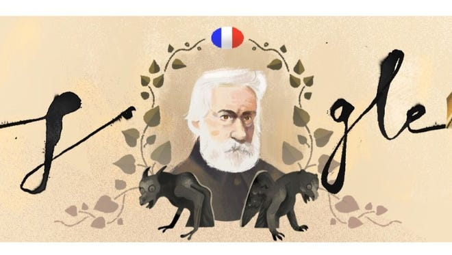 A Google Doodle celebrating 'Les Miserables' author Victor Hugo.