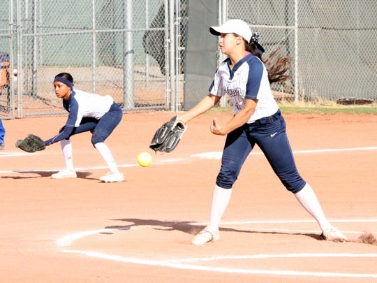 On her way to a perfect game, Kamryan Trujillo tosses this pitch during second inning action last Friday at the Ben Altamirano Sports Complex. She faced 12 batters in three innings and struck out all 12 to capture a perfect game.