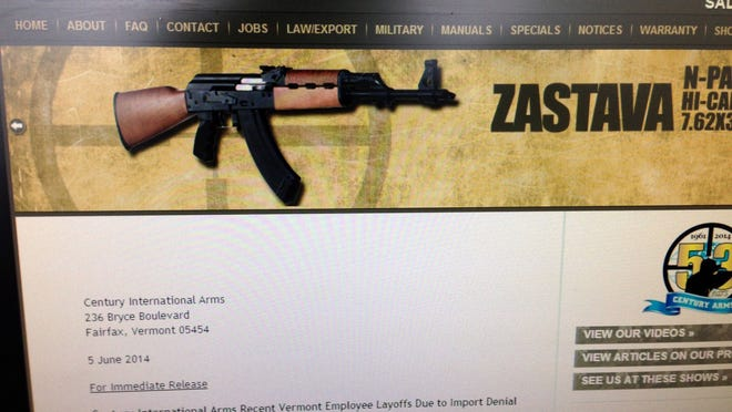 A screen shot of the Century Arms website on Thursday afternoon.