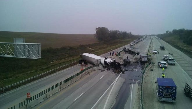 The West Des Police Department tweeted out a photo of this semi rollover on I-35 this morning.