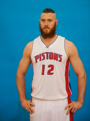 The Pistons' Aron Baynes poses during media day at the Pistons' practice facility in Auburn Hills on Monday.