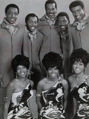 The Temptations and the Supremes in 1969. The Supremes, left to right: Mary Wilson, Diana Ross and Cindy Birdsong. The Temptations, left to right: Paul Williams, Melvin Franklin, Eddie Kendricks, Otis Williams and Dennis Edwards.