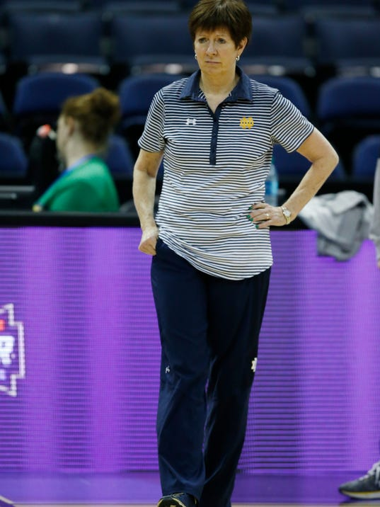 Notre Dame head coach Muffet McGraw watches during a practice session for the women's NCAA Final Four college basketball tournament, Thursday, March 29, 2018, in Columbus, Ohio. Notre Dame plays Connecticut in a national semifinal on Friday. (AP Photo/Ron Schwane)