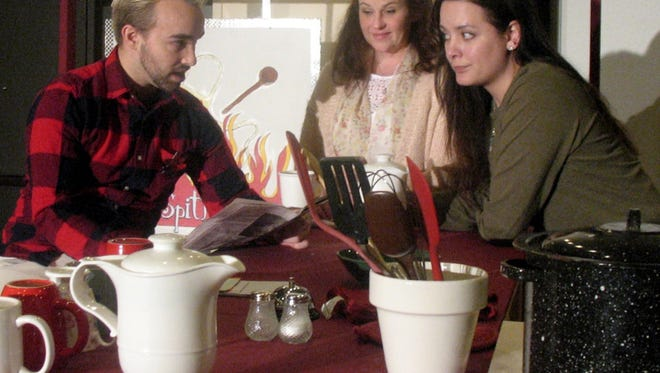 Joe (Colton Myers, from left) is initially skeptical of a plan hatched by Shelby (Pamela Rhodes) and Percy (Amanda Pugh).