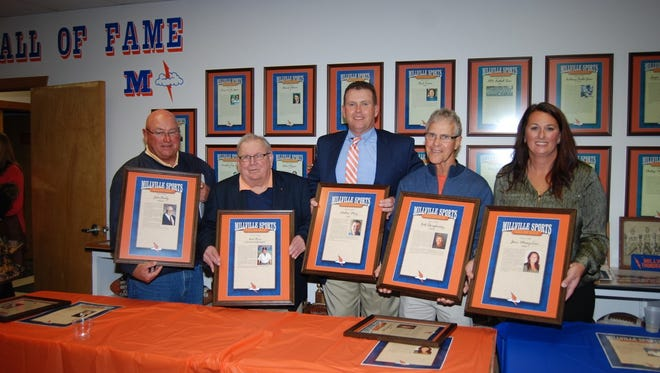 The Millville Sports Hall of Fame inducted its Class of 2017 on Nov. 4. The inductees were (from left to right) Dave Sharpless accepting for John Bailey (Legacy), Neil Oliver (Contributor), Mat Menz (1980's), Bill Shaughnessy (Coach), Jamie Musey-Lau (1990's).