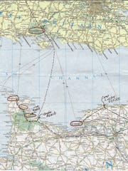 This map shows the route George Cooper took during World War II.
