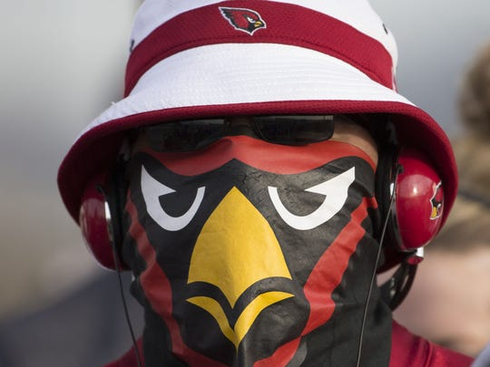 Cardinals fans cheer on the team during the pep rally/send off before heading to North Carolina for the NFC Championship at Phoenix Sky Harbor in Phoenix, AZ on January 23, 2016.