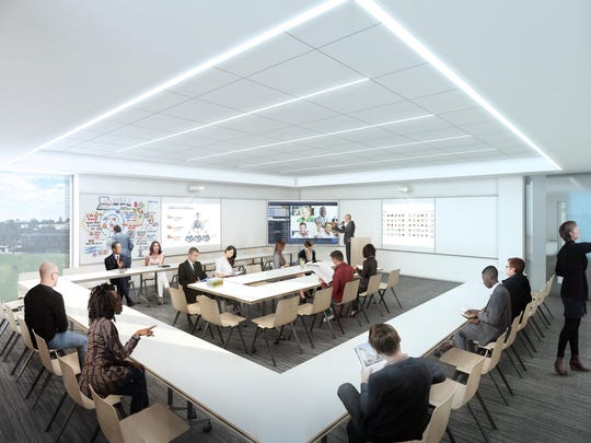 An artist rendering of a meeting space inside the planned Iona business school expansion.