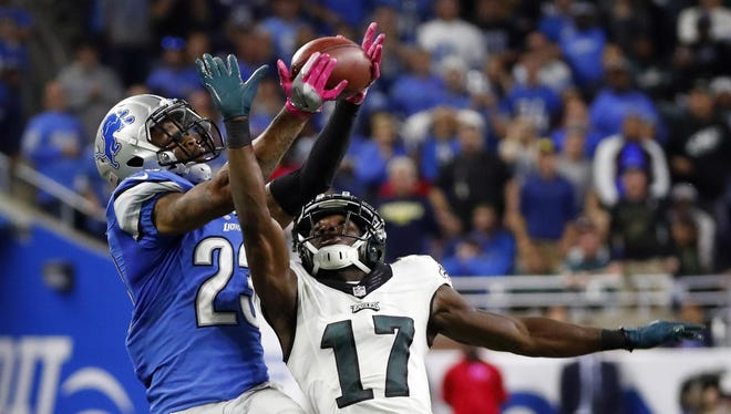 Lions cornerback Darius Slay intercepts a pass intended for Eagles wide receiver Nelson Agholor to end Philadelphia's final drive of the game.