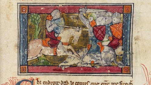 This French manuscript from the 13th century depicts the knight Tristan from the King Arthur tales.