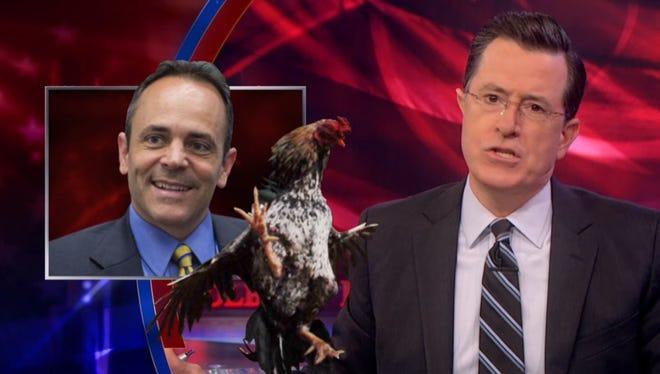 Stephen Colbert lampoons Matt Bevin over cockfighting controversy.