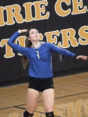 Abbey Burris lines up a serve in Bondurant-Farrar's match against Harlan Tuesday.