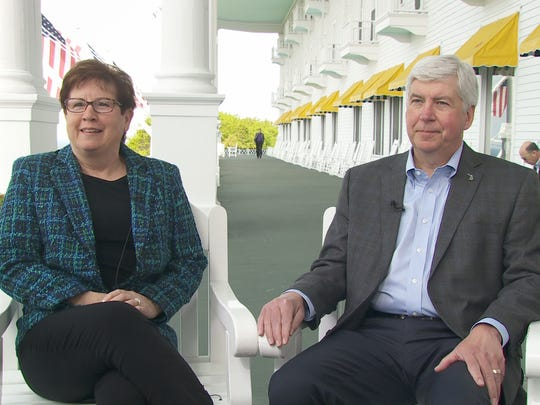 Gov. Rick Snyder and First Lady Sue Snyder at Grand Hotel on May 30 during the Detroit Regional Chamber's Policy Conference.
