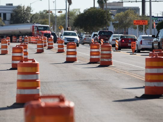 Construction cones along 1600 block of South Staples