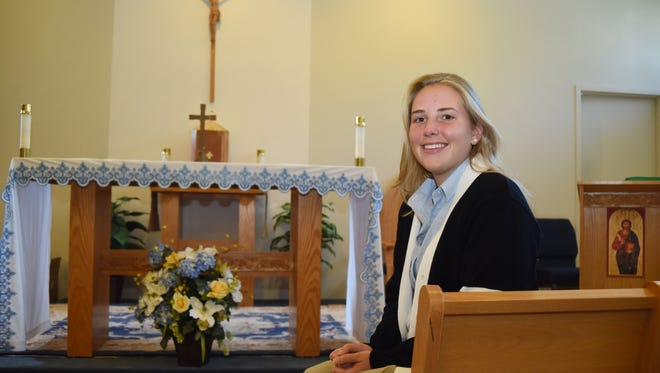 Julie Costigan, 17, a senior at Our Lady of Lourdes High School in Poughkeepsie, was selected to be one of 12 high school seniors to greet the Pope at Our Lady Queen of Angels School in Harlem during his visit to the United States.