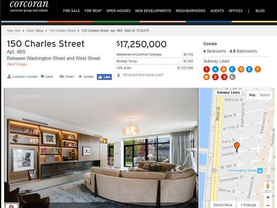 The Corcoran listing of Bon Jovi's New York City condo.
