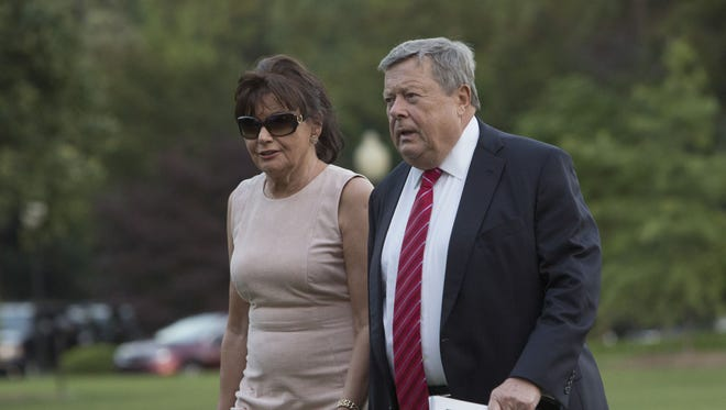 Viktor Knavs and Amalija Knavs, parents of first lady Melania Trump, arrive at the White House with the first family June 11, 2017 in Washington, D.C.