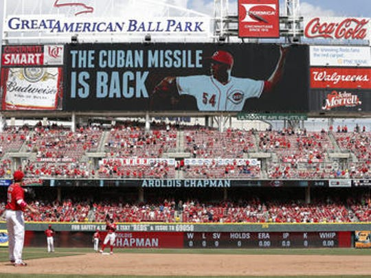 The current  Great American Ball Park scoreboard (Enquirer file)