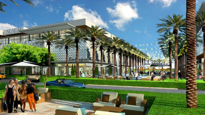 A conceptual rendering shows the proposed design of the Palmeraie, a luxury shopping development planned near Scottsdale and Indian Bend roads, next to a new Ritz-Carlton resort.