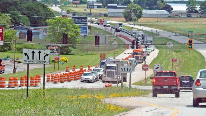 West-bound U.S. 30 traffic was backed up Friday at the State Route 94 interchange in Dalton as roadwork continues in that area.