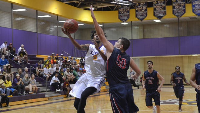 Cameron Biedscheid in a game with LSUS earlier this season.