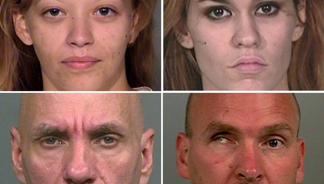 Hayley Navarra (top left), Kristy Sanchez, Walter Burnell (bottom left) and Jacob Rodemich were found slain on Feb. 20 in a home in the 3400 block of South Parker Avenue.