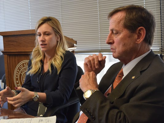 Jimmy LeBlanc (right), secretary of the Louisiana department of public safety and corrections, and Natalie LaBorde, assistant deputy secretary, speak at a press conference about the early release of inmates under the state's criminal justice reform.