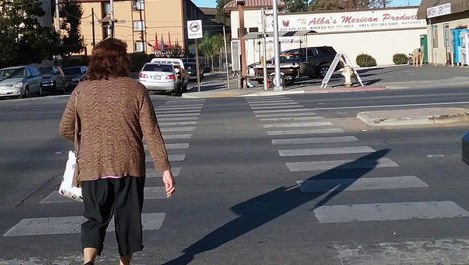 The crosswalk on N. Main Street, Salinas at Lamar