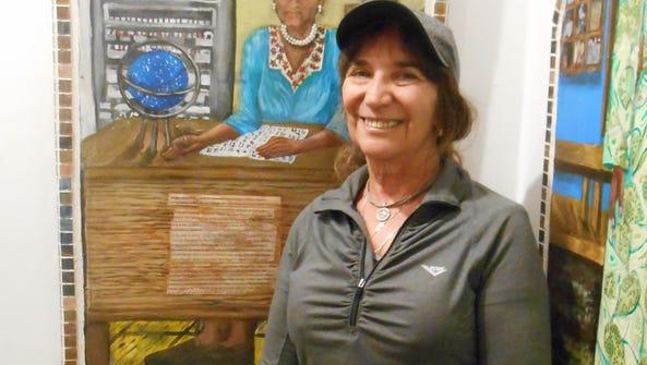 Artist Judith Lepore-Schreiber with her multi-media