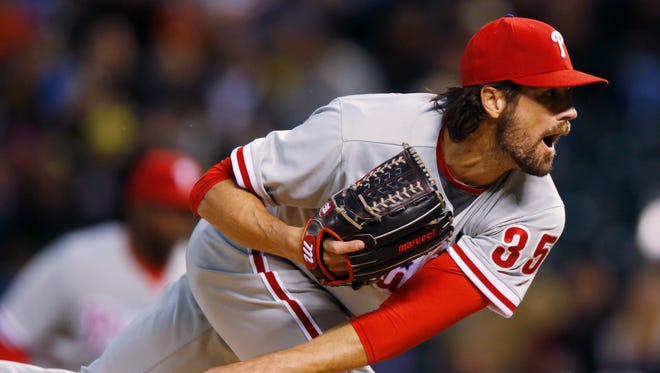 The Phillies' Cole Hamels went eight innings, fanning five and allowing five hits.