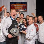While The Super Bowl celebrates 50 years, Taste of the NFL celebrates its 25th anniversary. Each year, the organization holds its Party with a Purpose fundraiser in the host city the night before the game. Guests stroll, meet current and former players, and sample food and wine from 32 restaurants, one from each NFL city. Here, Chef Troy Guard and Denver Broncos player Karl Mecklenburg serve Bison Ravioli with carrot puree, tarragon and ricotta.