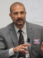 Rocky Hanna speaks during an editorial board meeting