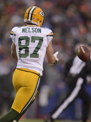 Green Bay Packers receiver Jordy Nelson drops a pass against the Buffalo Bills during Sunday's game at Ralph Wilson Stadium in Orchard Park, N.Y.