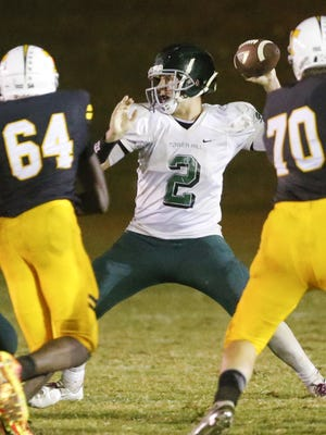 Tower Hill's A.J. Falco, shown here against Tatnall on Sept. 30, accounted for seven touchdowns and six two-point conversions in the Hillers' 54-50 victory over Conrad last Friday.