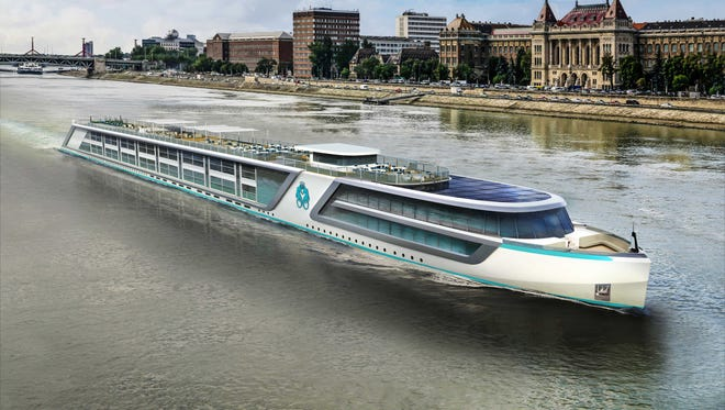 An artist's drawing of one of four new river ships on order for luxury line Crystal Cruises.