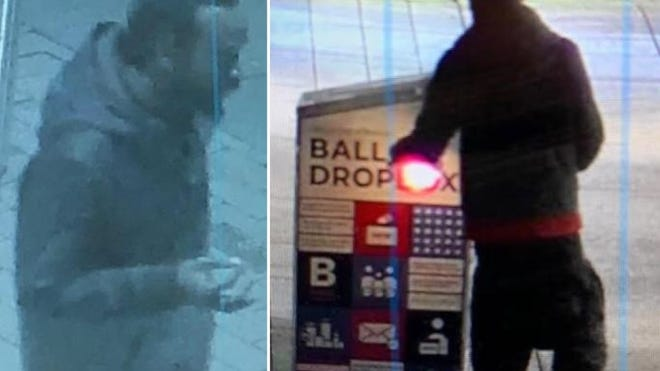 Surveillance images released by Boston police show a man who police say set fire to a ballot box in Boston early Sunday, Oct. 25, 2020.