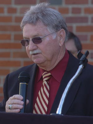 Gibson County Mayor Joe Shepard speaks during the opening ceremony for the Humboldt Higher Education Center in November 2007.