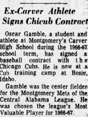 June 22, 1968 Advertiser story on Oscar Gamble signing