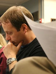 Dan Emmons at a South Burlington school budget meeting