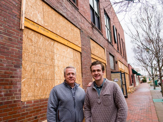 Tom and Wes Cunningham stand in front of what would become Strawberry Alley Ale Works.