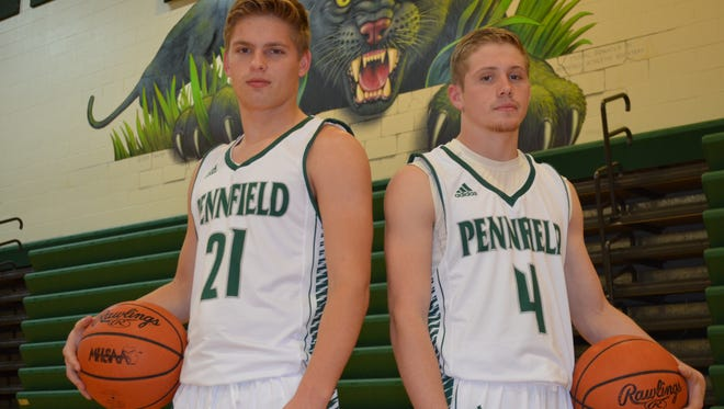The 2017-18 Pennfield boys basketball team will be led by returning seniors, from left, Grant Petersen and Kollin Kemerling.