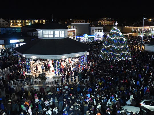 In this file photo, the tree as seen from the top of Thrasher's French Fries Rehoboth Beach's annual Christmas tree lighting was held on Friday Nov. 28, 2014 with over 4,000 people on hand.