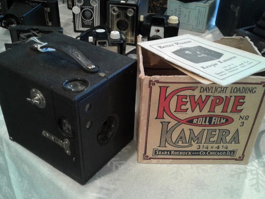 North Liberty camera collector Randy Hahn has numerous box cameras.  This Kewpie model was made by the Conley Camera Company from 1915 to 1925.