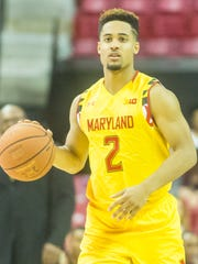 Maryland guard Melo Trimble (2) works up court against UMES at the Xfinity Center in College Park on Saturday, December 12th.