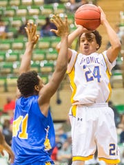 Wicomico guard Corey Jones (24) puts up a shot against
