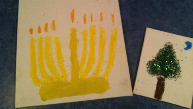 Paintings by Brice, 10, for his teachers.