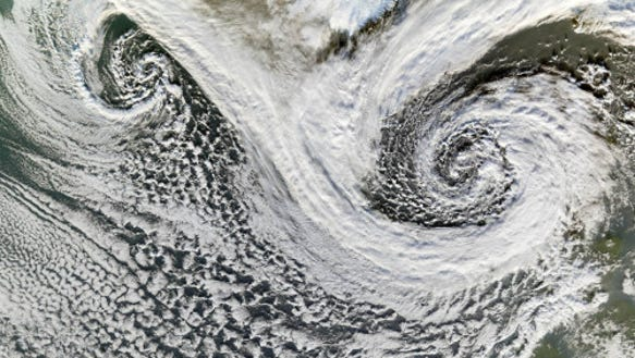 Extratropical storms near Iceland (Source: NASA)